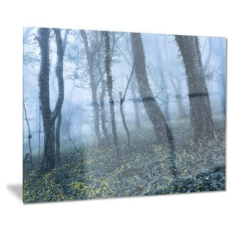 Designart 'Trees in Foggy Spring Forest' Landscape Photo Metal Wall Art