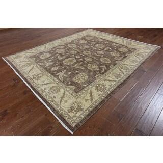 Hand-Knotted Oriental Peshawar Brown Wool Rug (6'10 x 8'5)