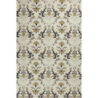 """Mulberry 3408 Ivory Allover Tapestry (2'3"""" x 7'6"""") Runner Rug"""