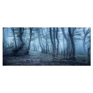 Designart 'Spring Foggy Forest Trees' Landscape Photo Metal Wall Art