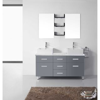 Virtu USA Maybell 56-inch Double Bathroom Vanity Set