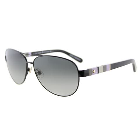 Kate Spade KS Dalia W92 Shiny Black Metal Aviator Grey Gradient Lens Sunglasses