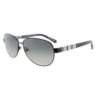Kate Spade KS Dalia W92 Shiny Black Metal Aviator Grey Gradient Lens Sunglasses