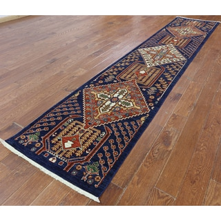 Hand-Knotted Oriental Serapi Blue Wool Rug (2'6 x 13'0)