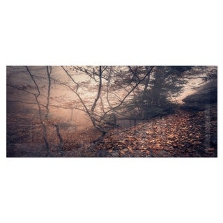 Designart 'Vintage Style Leaves and Trees' Landscape Photo Metal Wall Art