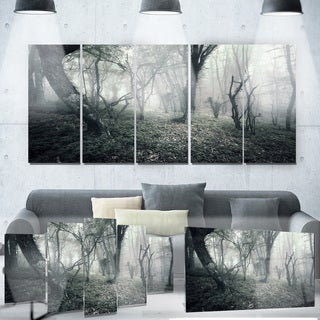 Designart 'Vintage Forest Filled with Fog' Landscape Photo Metal Wall Art