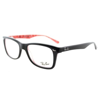 ray ban rx5228 2479 black on white logo print plastic 53mm eyeglasses