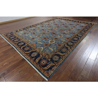 Hand-Knotted Oriental Serapi Blue Wool Rug (8'10 x 12'8)