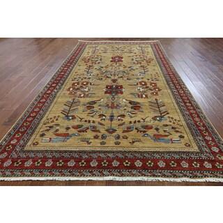 Hand-Knotted Oriental Serapi Beige Wool Rug (6'2 x 11'0)