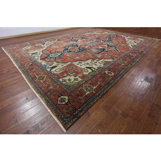 Hand-Knotted Oriental Serapi Red Wool Rug (12'0 x 17'6)
