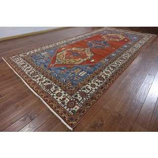 Hand-Knotted Oriental Serapi Red Wool Rug (8'2 x 16'1)