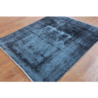 Hand-Knotted Oriental Overdyed Blue Wool Rug (4'7 x 5'6)