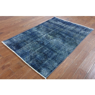 Hand-Knotted Oriental Overdyed Blue Wool Rug (4'1 x 5'10)