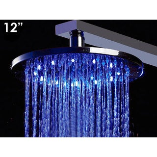 ALFI Brand LED5007 Silver Stainless Steel 12-inch Round Multicolor LED Rain Shower Head