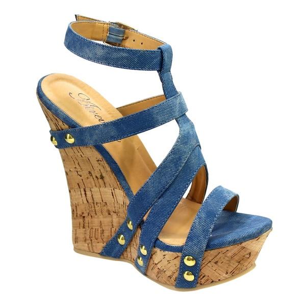 Women's ATREVIDA BC79 Black, Blue, Tan Fabric Cork Wedge Sandals