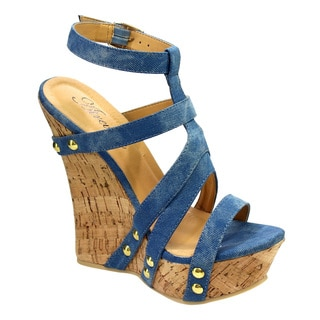 Women's ATREVIDA BC79 Black, Blue, Tan Fabric Cork Wedge Sandals