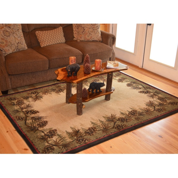 Rustic Lodge Brown Pine Cone Border Cabin Area Rug 5 3 X