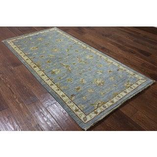 Hand-Knotted Oriental Peshawar Blue Wool Rug (3'3 x 6'7)