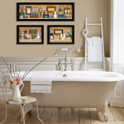 """""""Bathroom Collection III"""" Collection By Carrie Knoff, Printed Wall Art, Ready To Hang Framed Poster, Black Frame"""