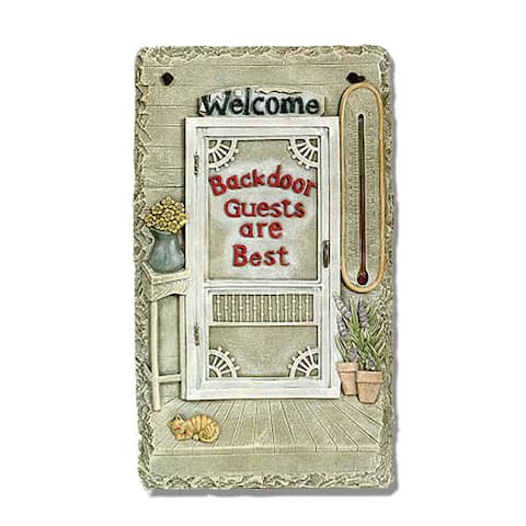 """Welcome Sign, """"Backdoor Guests"""" Porch Decor, Resin Slate Plaque, Ready to Hang Decor"""