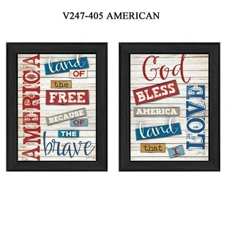 """American"" Collection By Marla Rae, Printed Wall Art, Ready To Hang Framed Poster, Black Frame"