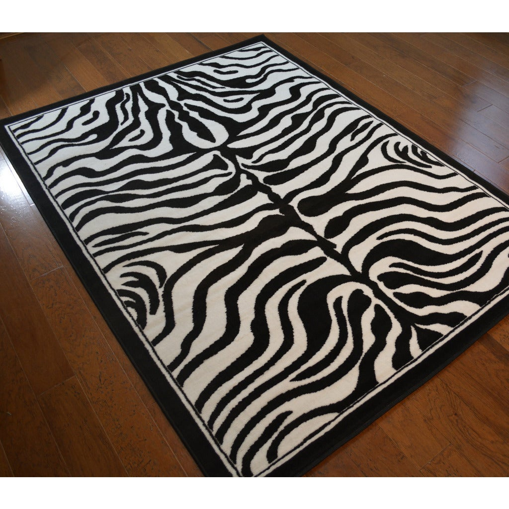 Zebra Skin Black Polypropylene Stain Resistant Area Rug