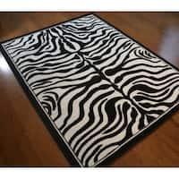 Zebra Skin Black Polypropylene Stain-resistant Area Rug - 5'3 x 7'4