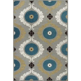 "Mulberry 3400 Silver/Teal Suzani (3'3"" x 5'3"") Rug"