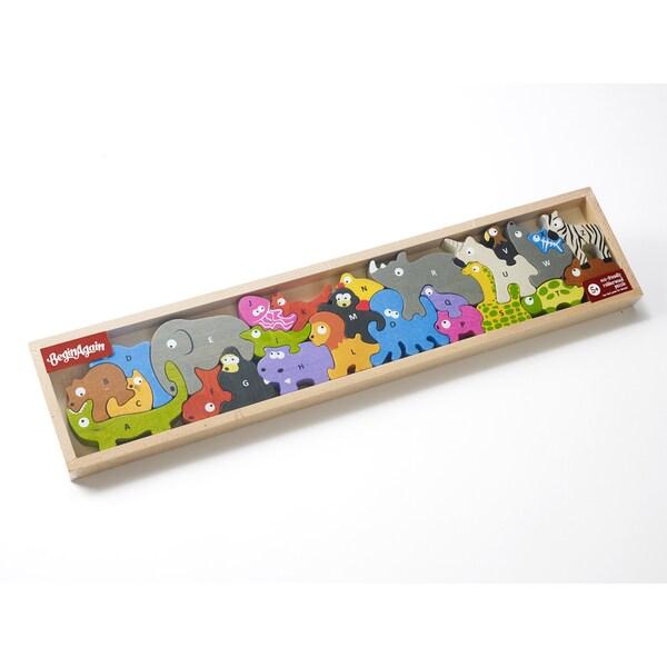 BeginAgain Toys Animal Parade A-Z Wooden Puzzle