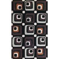 Milan Charcoal Squares Rug - 5' x 7'6