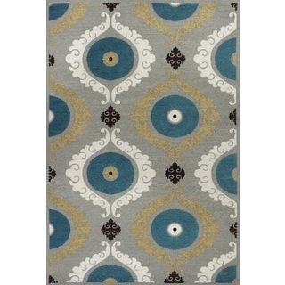 """Mulberry 3400 Silver/Teal Suzani (5' x 7'6"""") Rug"""