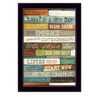 """Today is a New Day"" By Marla Rae, Printed Wall Art, Ready To Hang Framed Poster, Black Frame"