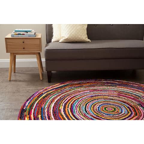 Jani Sula Multi Color Cotton Round Rug