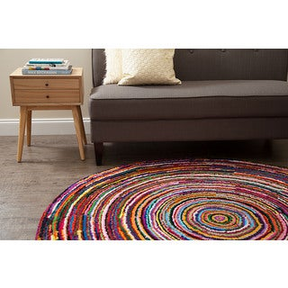 Jani Sula Multi Color Cotton Round Rug (8' Round)