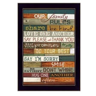 """""""Our Family Rules"""" By Marla Rae, Printed Wall Art, Ready To Hang Framed Poster, Black Frame
