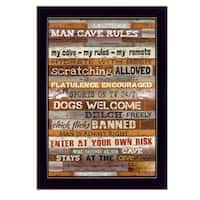 """Man Cave Rules"" By Marla Rae, Printed Wall Art, Ready To Hang Framed Poster, Black Frame"