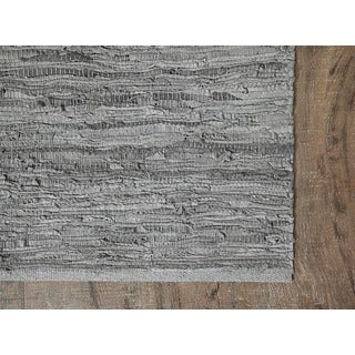 Jani Lena Grey Leather and Cotton Rug (4' x 6')