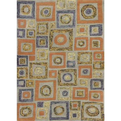 Geo Frost Orange Hand-tufted Wool Rug