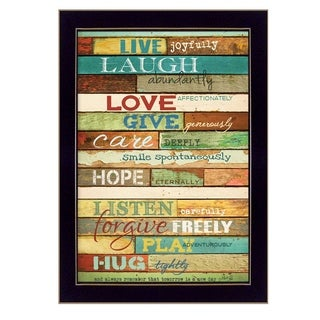 """""""Live Joyfully"""" By Marla Rae, Printed Wall Art, Ready To Hang Framed Poster, Black Frame - Brown/Blue"""