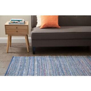 Jani Alita Upcycled Blue Multi Cotton Rug (4' x 6')