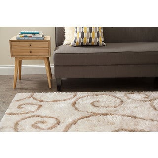 Jani Bella Ivory and Tan Shag Rug (9' x 12')