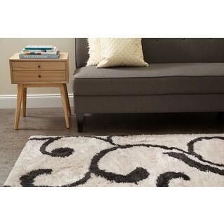 Jani Ivy Ivory and Grey Shag Rug (8' x 10')