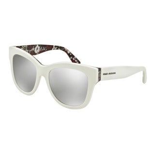 D&G Women's DG4270 30236G White Plastic Square Sunglasses