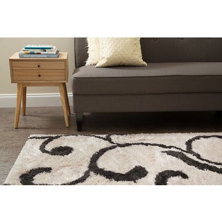 Jani Ivy Ivory and Grey Shag Rug (5' x 7')