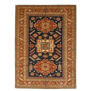 Hand-knotted Wool Navy Traditional Geometric Super Kazak Rug (6'11 x 9'7)