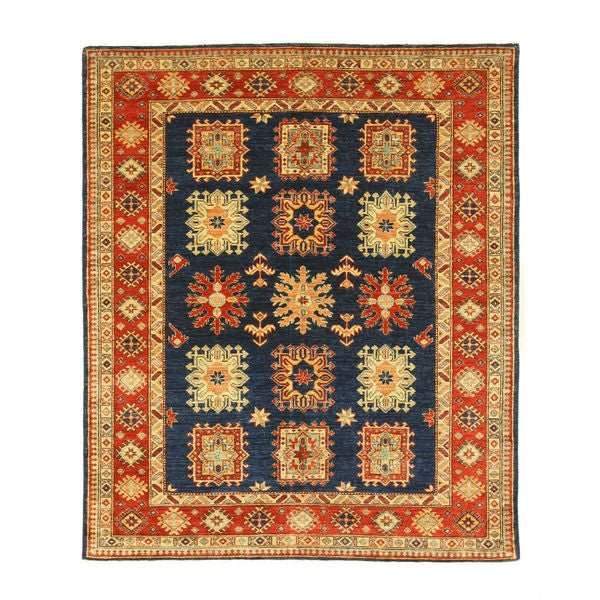 Hand-knotted Wool Navy Traditional Geometric Super Kazak Rug (6'2 x 7'3)