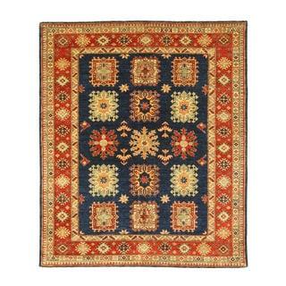 Hand-knotted Wool Navy Traditional Geometric Super Kazak Rug (6'2 x 7'3)