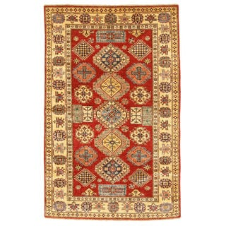 Hand-knotted Wool Red Traditional Geometric Super Kazak Rug (4'9 x 7'6)