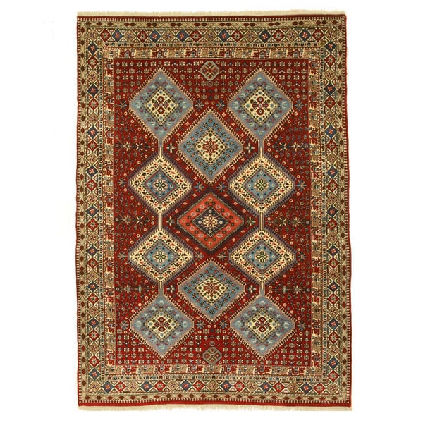 Hand-knotted Wool Red Traditional Oriental Yalameh Rug (6'9 x 9'9)