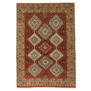 EORC Hand Knotted Wool Red Yalameh Rug (6'9 x 9'9)